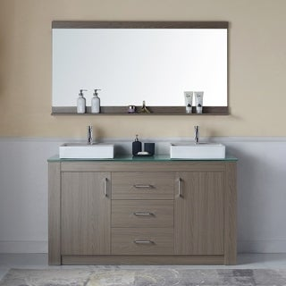 Virtu USA Tavian 60-inch Double Bathroom Vanity Set with Faucet and Top Options