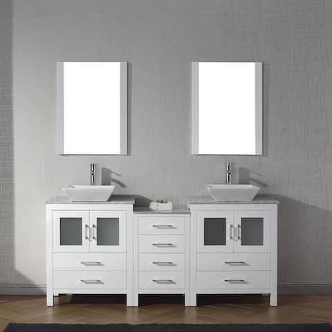 Virtu USA Dior 66-inch Carrara White Marble Double Vanity with Faucet