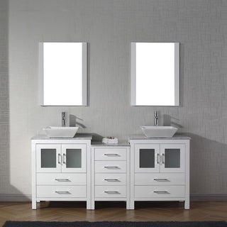 Virtu USA Dior Carrara White Marble 66-inch Double Bathroom Vanity Set with Faucet Options