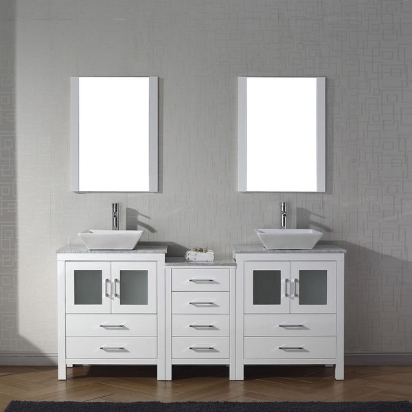 Good Virtu USA Dior Carrara White Marble 66 Inch Double Bathroom Vanity Set With  Faucet Options