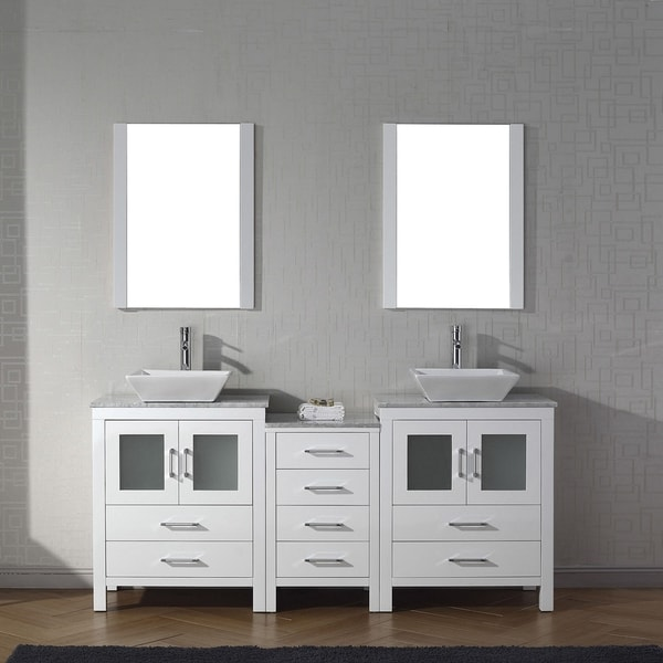 Shop Virtu USA Dior Inch Carrara White Marble Double Bathroom - 66 inch bathroom vanity