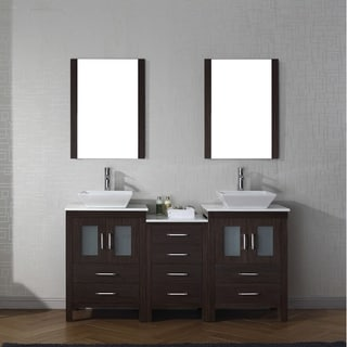 Virtu USA Dior 66-inch White Stone Double Bathroom Vanity Set with Faucet Options