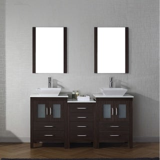 Elegant Virtu USA Dior 66 Inch White Stone Double Bathroom Vanity Set With Faucet  Options