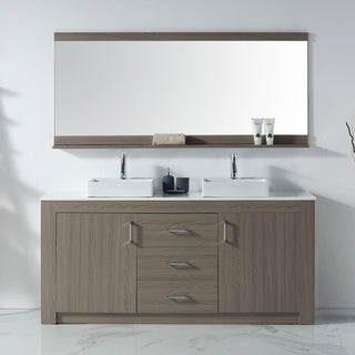 Virtu USA Tavian 72-inch Double Bathroom Vanity Set with Faucet and Top Options