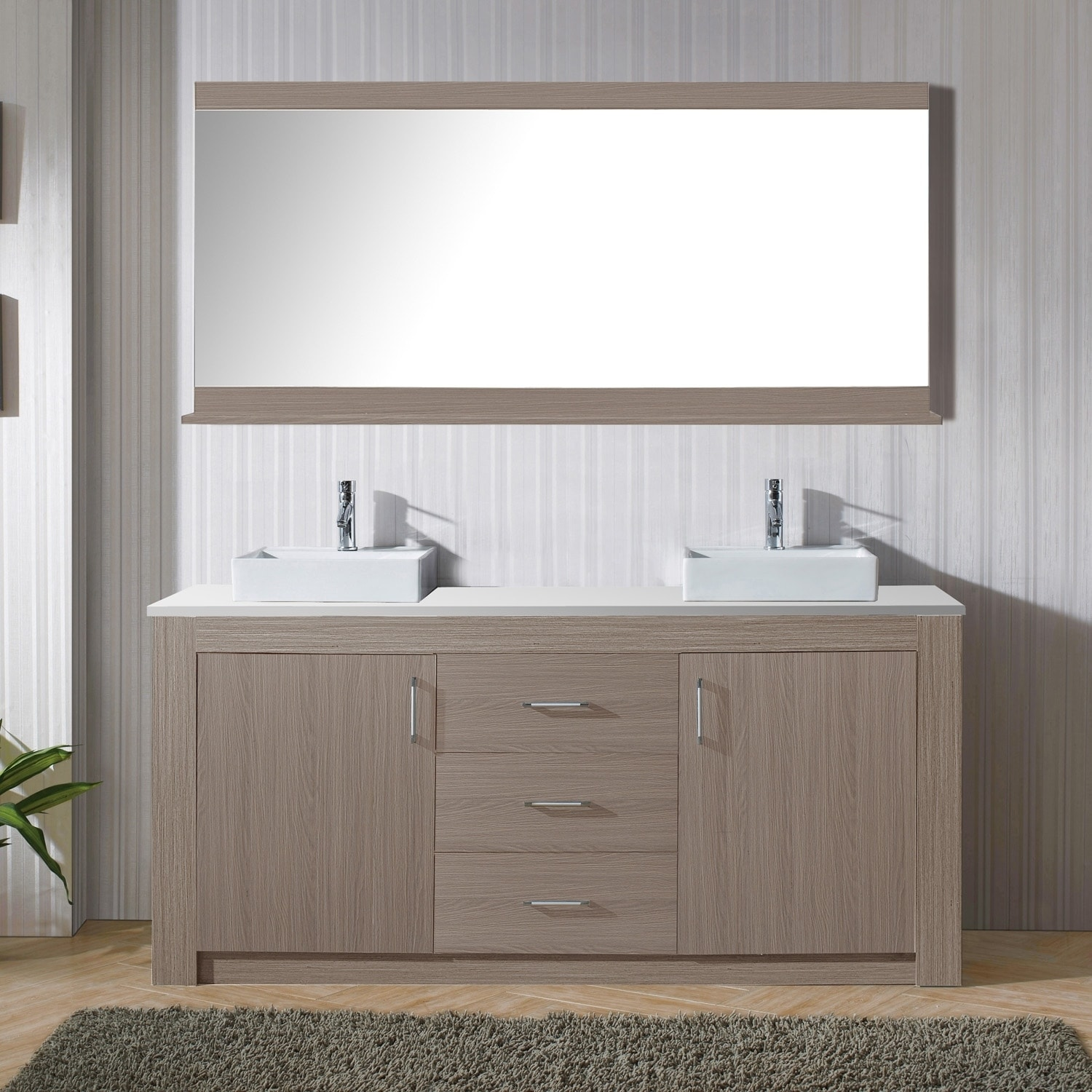 Virtu USA Tavian 72-inch Double Bathroom Vanity Set with Faucet and ...