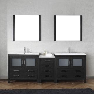 Virtu USA Dior 90-inch Carrara White Marble Double Bathroom Vanity Set without Mirrors