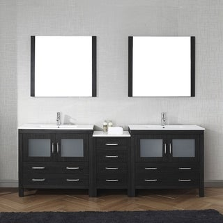 Dior 90-inch Carrara White Marble Double Vanity Without Mirrors