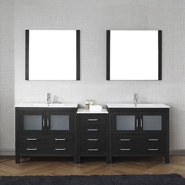 Virtu USA Dior 90 Inch Carrara White Marble Double Bathroom Vanity Set  Without Mirrors