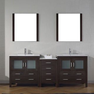 Virtu USA Dior 82-inch Ceramic Double Bathroom Vanity Set with Faucet Options (More options available)