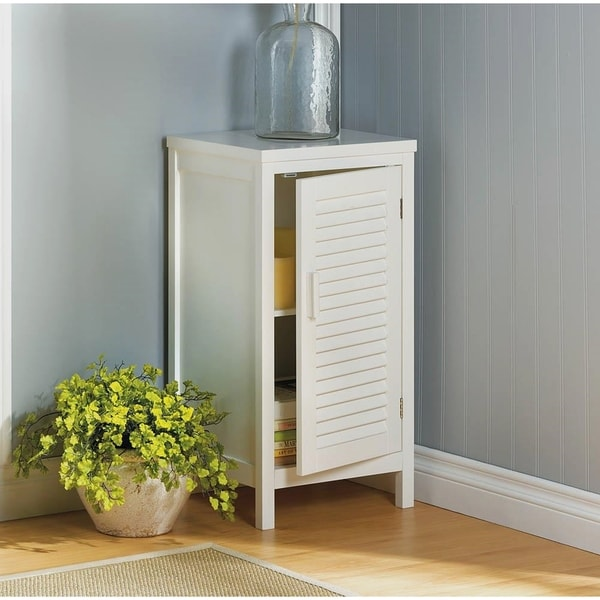 Olympia White Single Slatted Door Storage Cabinet