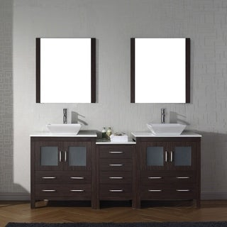 Virtu USA Dior Wood 78-inch Double Bathroom Vanity Set with Faucet Options and White Stone Top