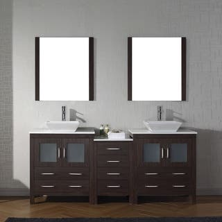 Virtu USA Dior Wood 78 inch Double Bathroom Vanity Set with Faucet Options  and White Vanities Cabinets For Less Overstock com