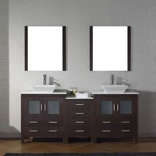 bathroom vanity set. Virtu USA Dior Wood 78 inch Double Bathroom Vanity Set with Faucet Options  and White Vanities Cabinets For Less Overstock com
