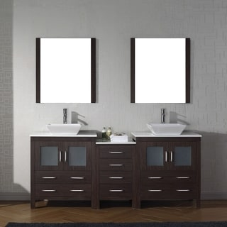 Virtu USA Dior Wood 78 Inch Double Bathroom Vanity Set With Faucet Options  And White