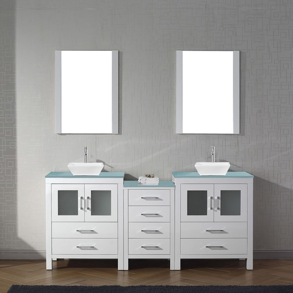 Dior 74-in Tempered Glass Double Bathroom Vanity Set