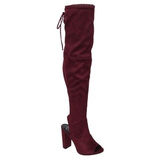 Delicious IC82 Women's Side Zip Backless Lace Up Chunk Heel Over The Knee Boots