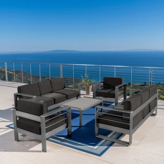 Cape Coral Outdoor Aluminum 5-piece Chat Set with Cushions by Christopher Knight Home