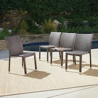 Dover Outdoor Wicker Aluminum Stacking Dining Chair (Set of 4) by Christopher Knight Home