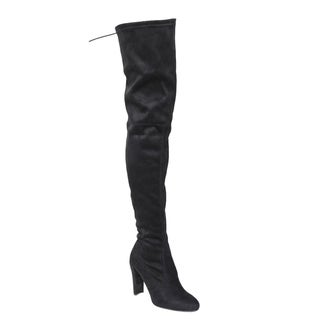 Wild Diva Lounge FF18 Women's Drawstring Stretchy Over The Knee Block Heel Boots
