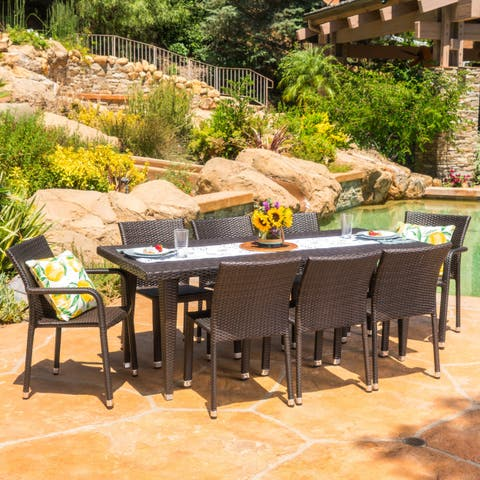 Bermuda Outdoor 9-piece Rectangular Wicker Aluminum Dining Set by Christopher Knight Home