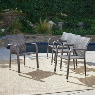 Dover Outdoor Wicker Armed Stacking Chairs with Aluminum Frame (Set of 4)