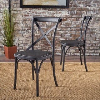 ShilohFarmhouse Plastic Nylon Dining Chairs (Set of 2) by Christopher Knight Home