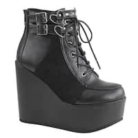 Demonia POISON-105 Women's Platform Wedge Heel Lace-Up Ankle Strap Boot