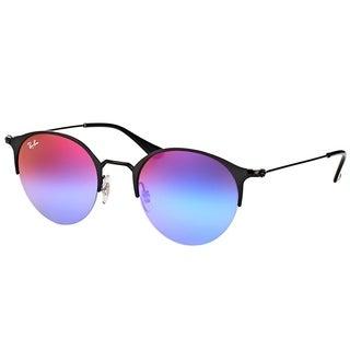Ray-Ban Round RB 3578 186/B1 Unisex Black Matte Black Frame Blue Violet Gradient Mirror Lens Sunglasses
