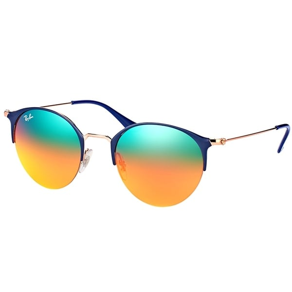97317bfd7fb Ray-Ban Round RB 3578 9036A8 Unisex Blue Copper Frame Orange Gradient Mirror  Lens Sunglasses