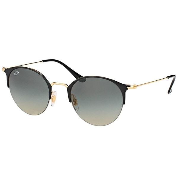 bd975d3eb1 Shop Ray-Ban Round RB 3578 187 11 Unisex Shiny Black Gold Frame Grey ...