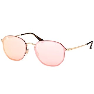 Ray-Ban Square RB 3579N 001/E4 Unisex Gold Frame Pink Mirror Lens Sunglasses
