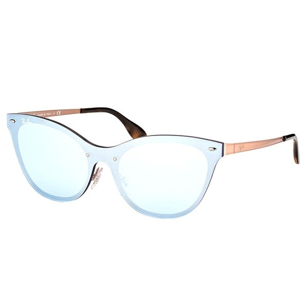 c30356e50ff Ray-Ban Cat Eye RB 3580N 90391U Womens Copper Frame Dark Blue Silver Mirror  Lens