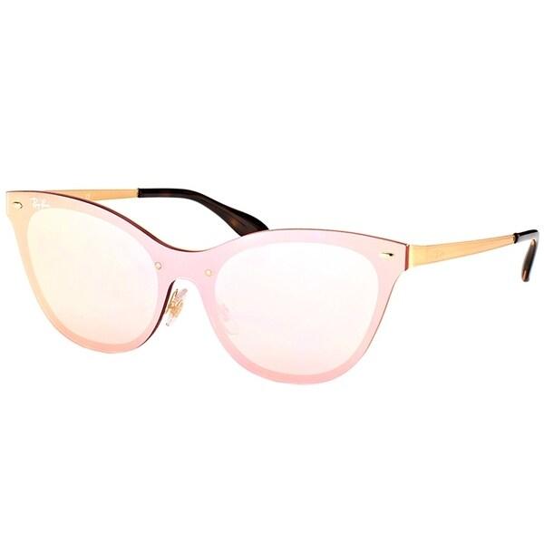 4e2fff36f9 Shop Ray-Ban Cat Eye RB 3580N 043 E4 Womens Gold Frame Pink Mirror ...