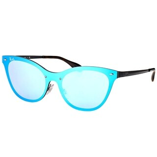 Ray-Ban Cat Eye RB 3580N 153/7V Womens Black Frame Dark Violet Blue Mirror Lens Sunglasses