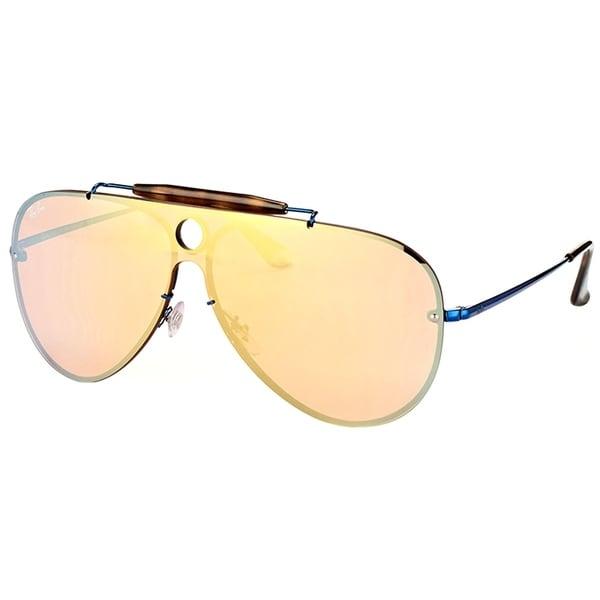 35ac01b5607 Ray-Ban Aviator RB 3581N 90387J Unisex Blue Frame Dark Orange Gold Mirror  Lens Sunglasses