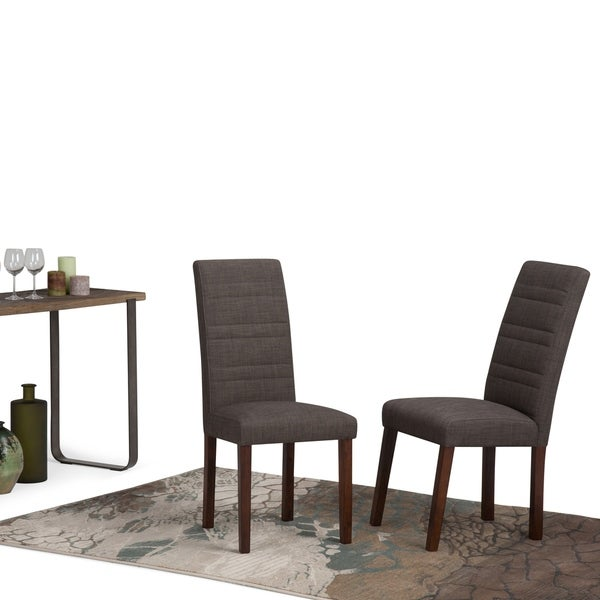 WYNDENHALL Augustus Fabric Dining Chair in Midnight Grey (Set of 2)