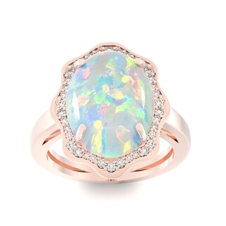 14k Rose Gold Opal and 1/3ct TDW White Diamond Halo Ring