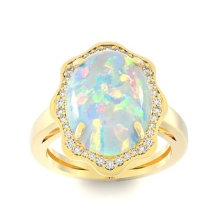 14k Yellow Gold Opal and 1/3ct TDW White Diamond Ring