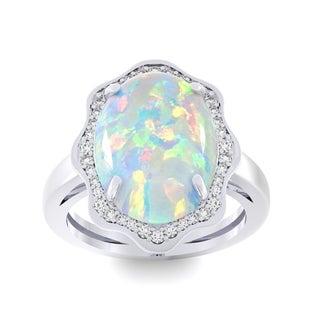14k White Gold Opal and 1/3ct TDW White Diamond Halo Ring