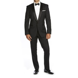 Braveman Men's Slim Fit Shawl Lapel Runway Tuxedo (Option: 36S/30 - Black)