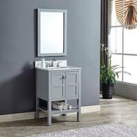 Heritage Maddox Grey Wood and Carrara Marble Single-sink Vanity