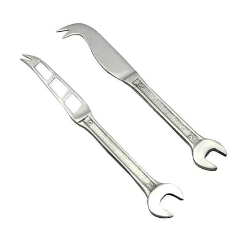 Inox Spanner Design 2-piece Full Polished Cheese Knife/Spreader Set - N/A