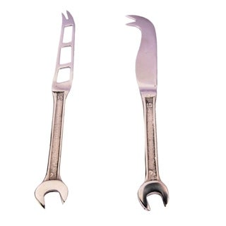 Inox Spanner Design 2-piece Full Polished Cheese Knife/Spreader Set