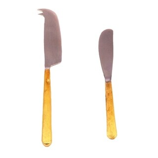 Inox Toffee Design 2-piece Gold Cheese Knife/Spreader Set