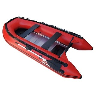 ALEKO Inflatable 12.5' with Aluminum Floor 6 Person Raft Fishing Red Boat
