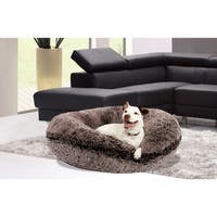 Bessie & Barnie Signature Grey Faux-fur Extra Plush Bagel Pet/Dog Bed