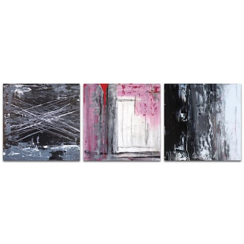 Celeste Reiter 'Urban Triptych 6' 38in x 12in Abstract Wall Art on Metal