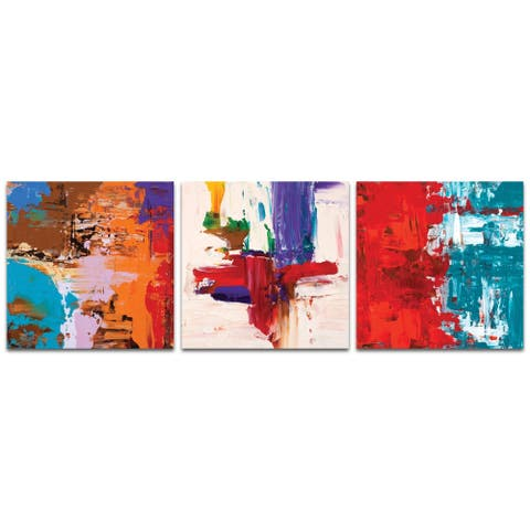 Celeste Reiter 'Urban Triptych 5' 38in x 12in Abstract Wall Art on Metal