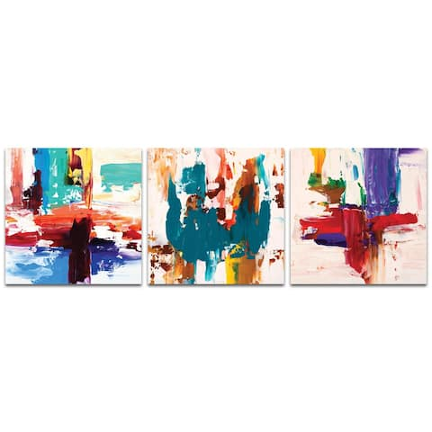 Celeste Reiter 'Urban Triptych 2' 38in x 12in Abstract Wall Art on Metal