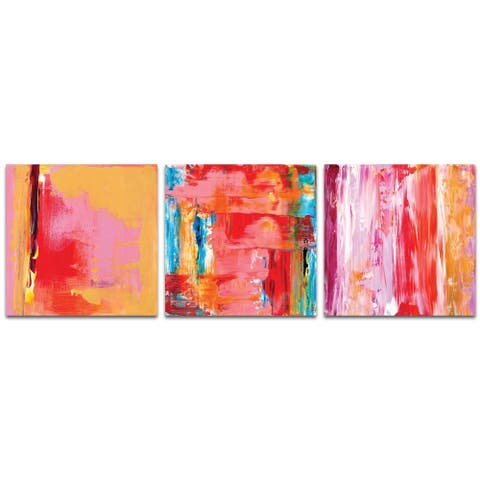Celeste Reiter 'Urban Triptych 3' 38in x 12in Abstract Wall Art on Metal